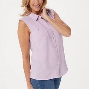 Denim & Co Button Front Shirt with Shirttail Hem